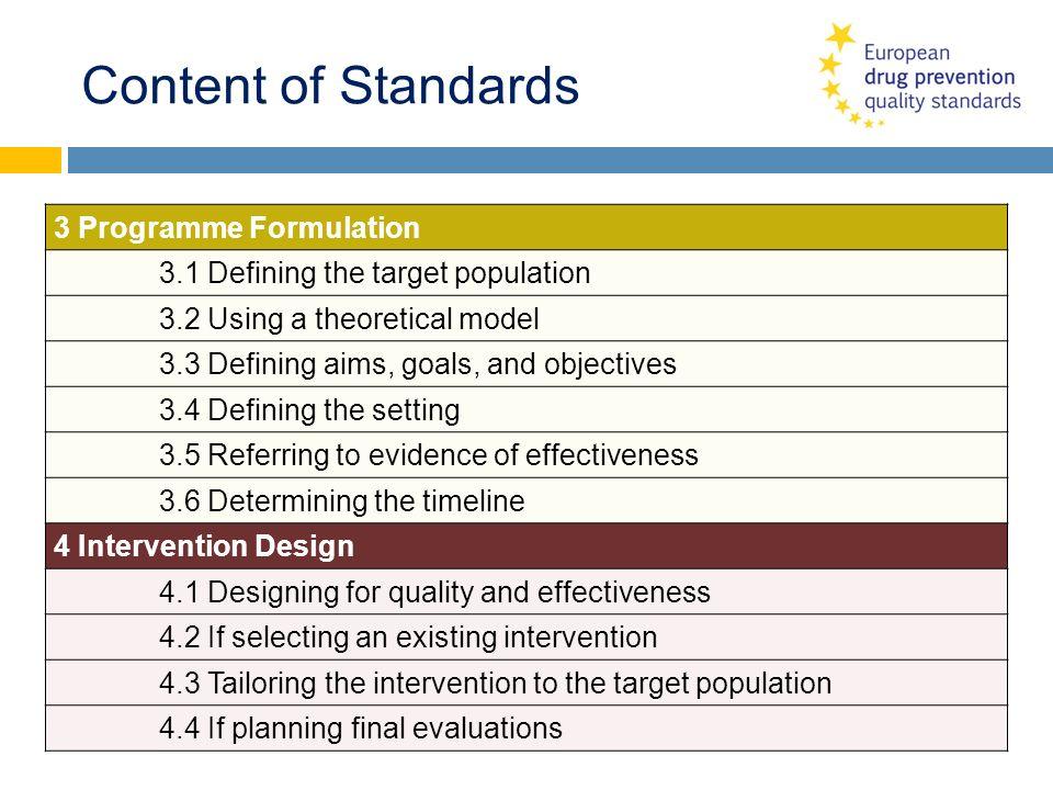 Content of Standards 3 Programme Formulation