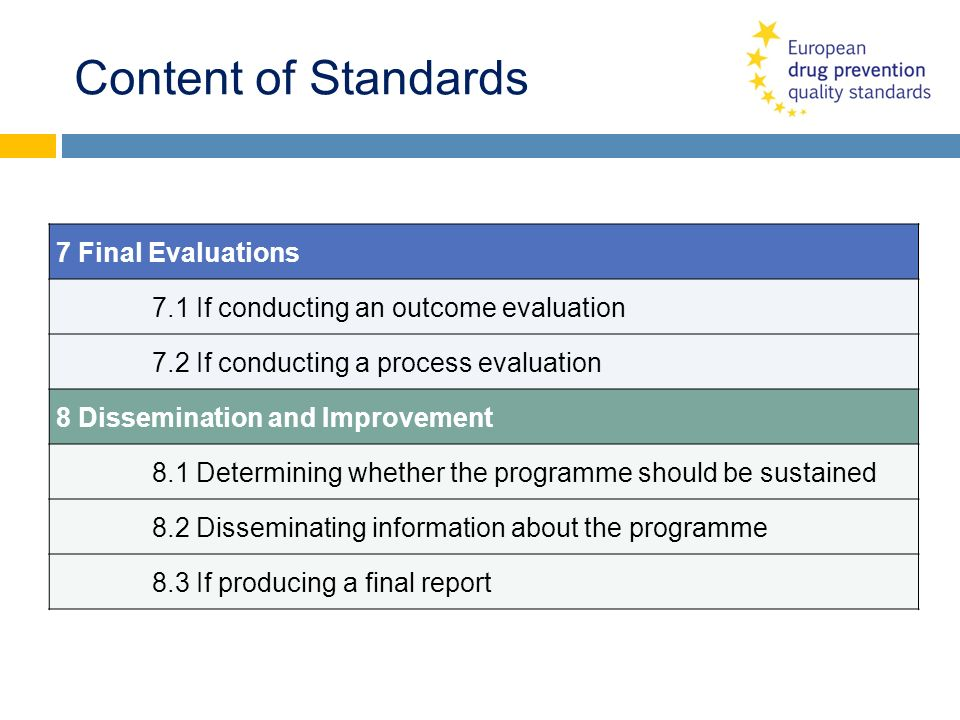 Content of Standards 7 Final Evaluations