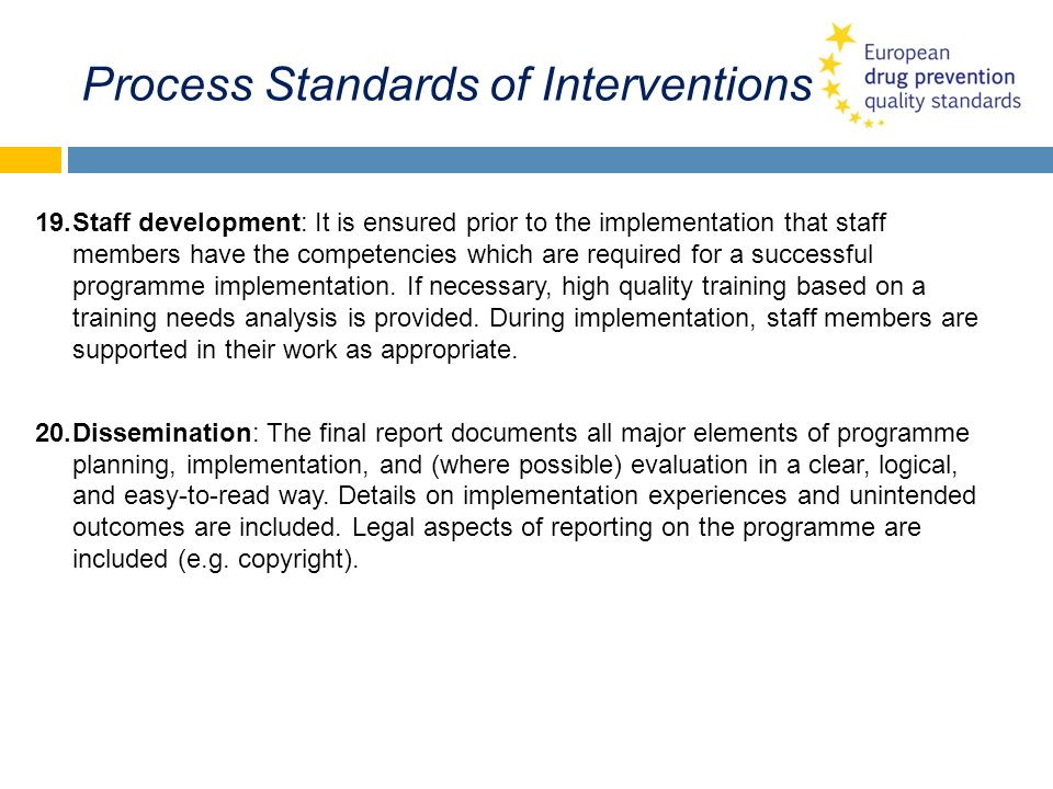 Process Standards of Interventions