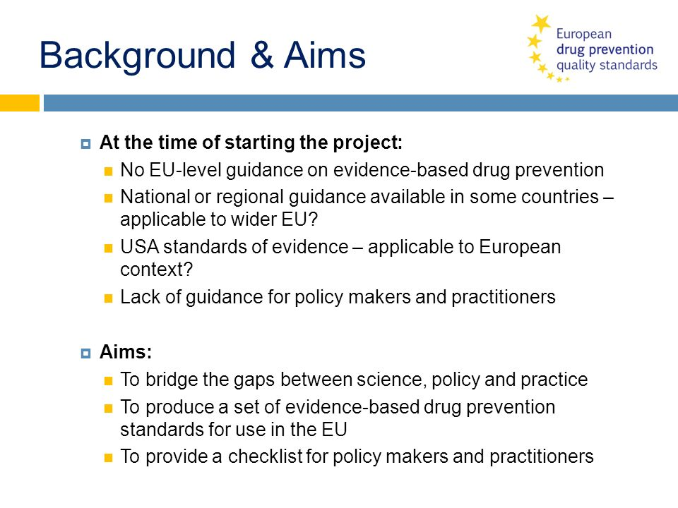 Background & Aims At the time of starting the project: