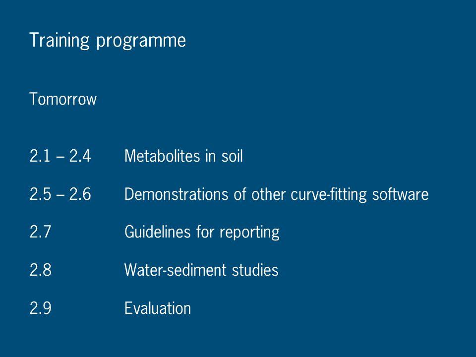 Training programme Tomorrow 2.1 – 2.4 Metabolites in soil