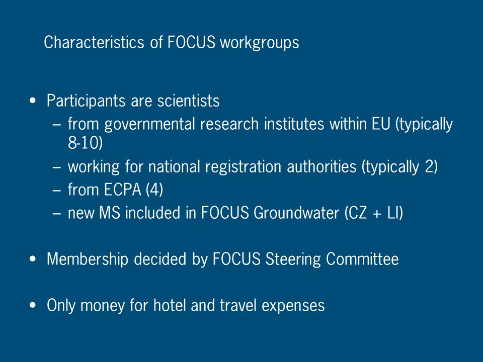 Characteristics of FOCUS workgroups