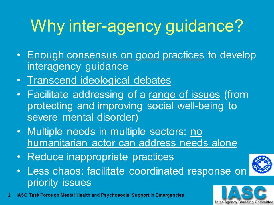 Why inter-agency guidance