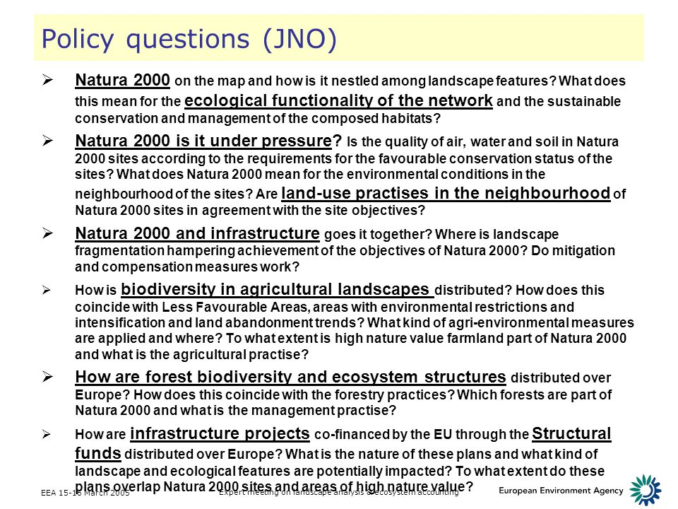 Policy questions (JNO)
