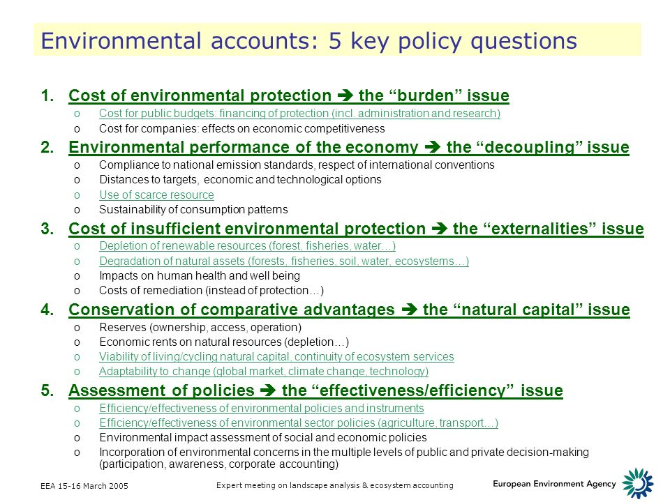 Environmental accounts: 5 key policy questions