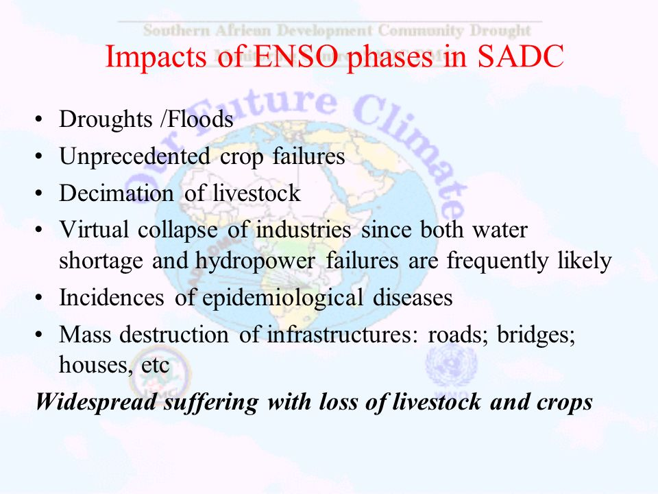 Impacts of ENSO phases in SADC