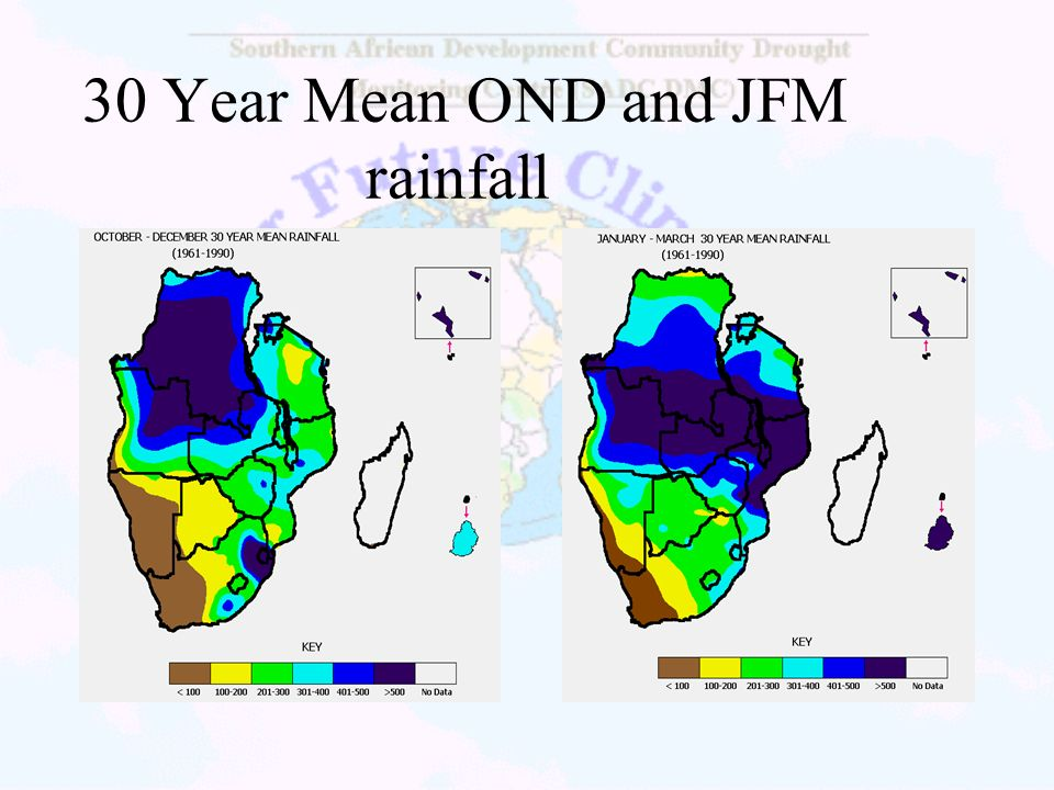 30 Year Mean OND and JFM rainfall