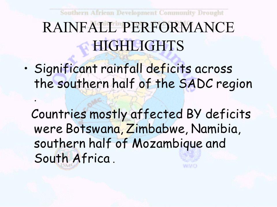RAINFALL PERFORMANCE HIGHLIGHTS
