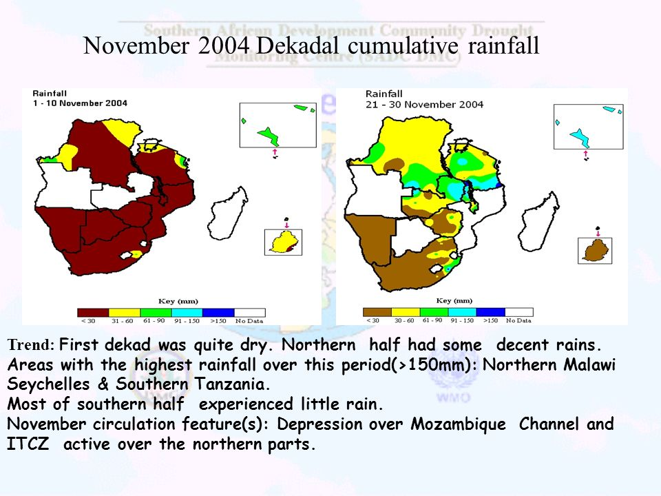 November 2004 Dekadal cumulative rainfall