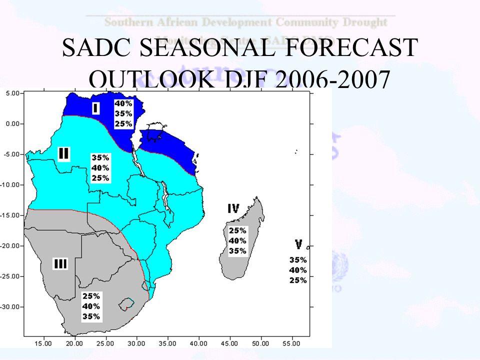 SADC SEASONAL FORECAST OUTLOOK DJF 2006-2007
