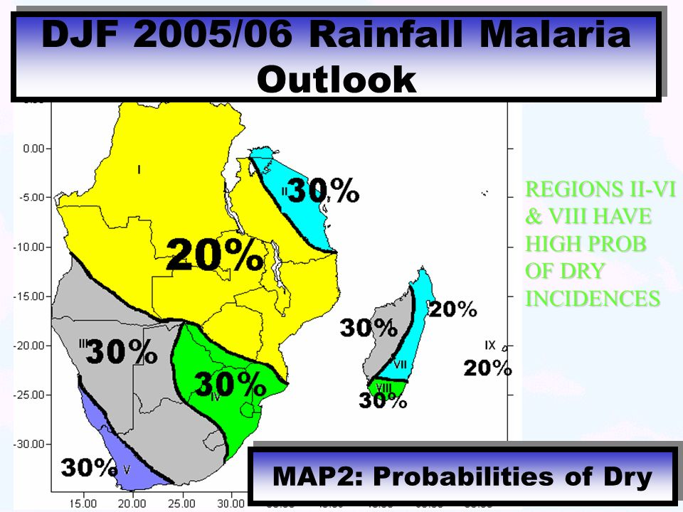 DJF 2005/06 Rainfall Malaria Outlook MAP2: Probabilities of Dry