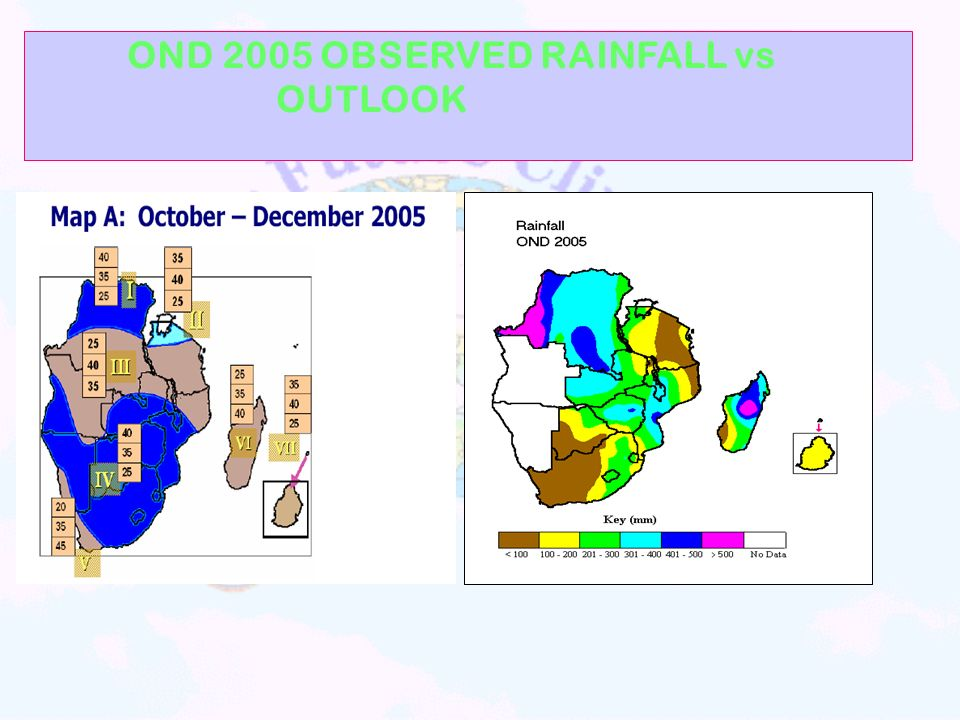 OND 2005 OBSERVED RAINFALL vs OUTLOOK