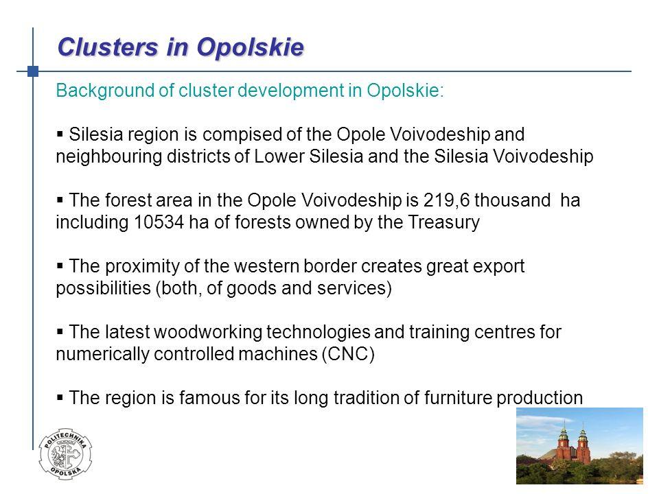 Clusters in Opolskie Background of cluster development in Opolskie: