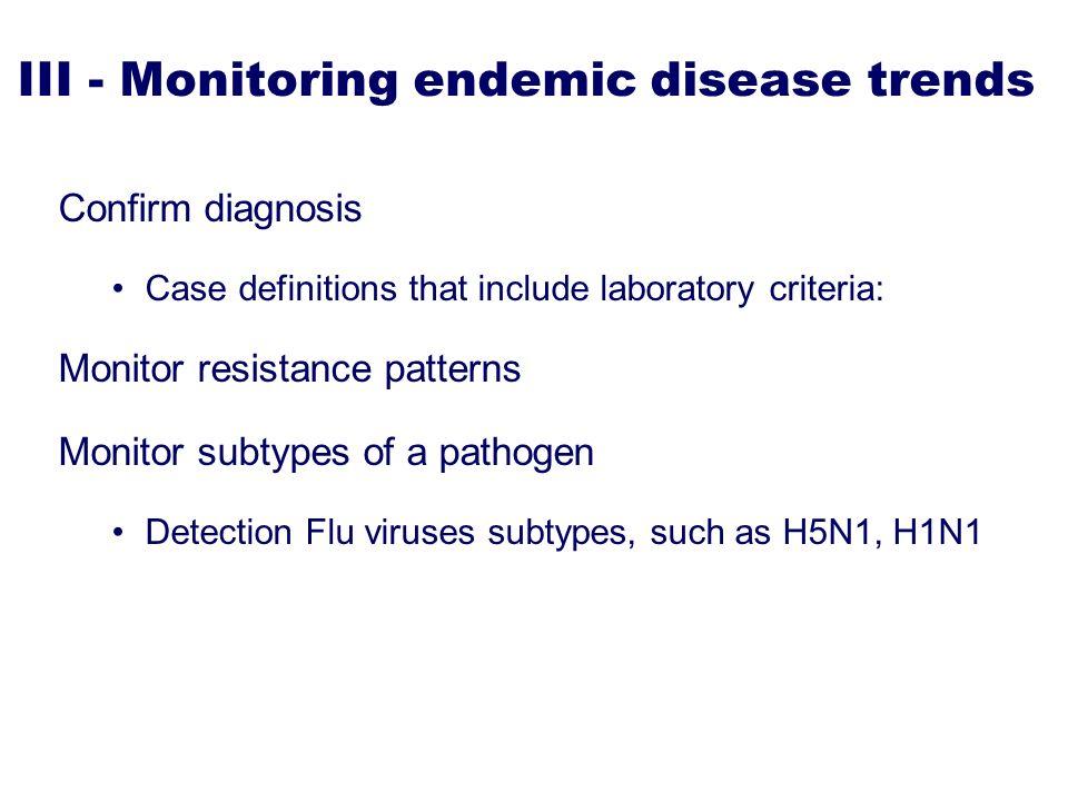 III - Monitoring endemic disease trends