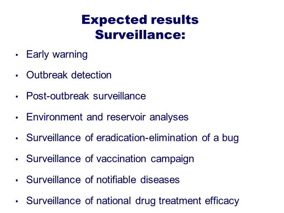 Expected results Surveillance: