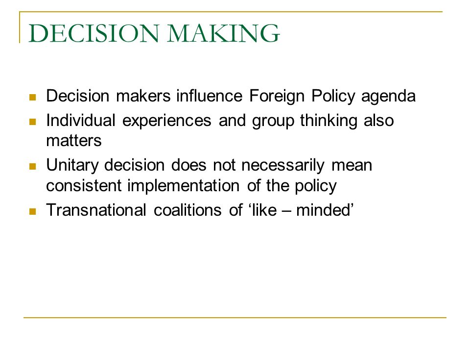 influence of transnational actors on foreign policy This chapter will first consider how assumptions made about 'states' inhibit analysis of transnational actors regulation of communication facilities or the general economic policy of foreign provides a set of six case-studies around the theme that transnational influence.