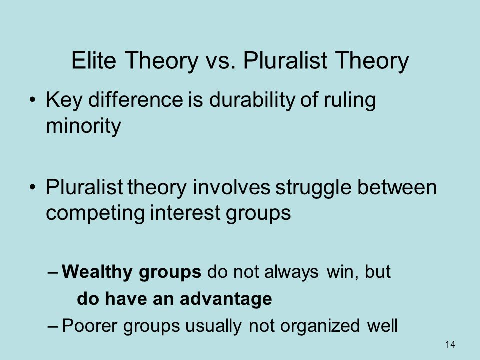 elitist vs plurarlism Many americans fear that a set of elite citizens is really in charge of government in the united states and that others have no influence this belief is called the elite theory of.