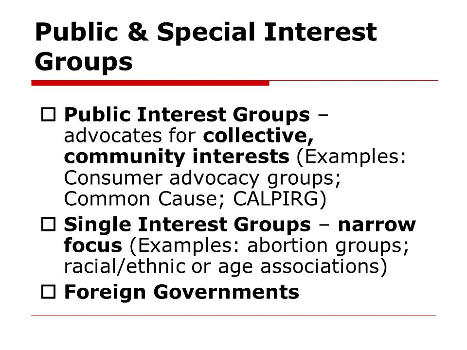 Public U0026 Special Interest Groups  Examples Of Interests
