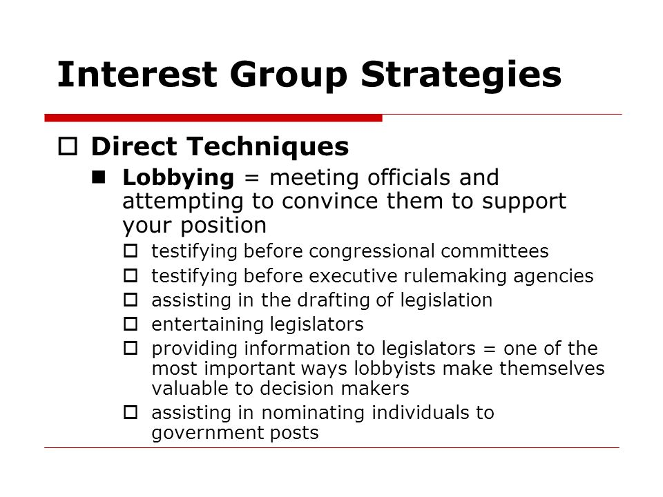 Interest Group Strategies