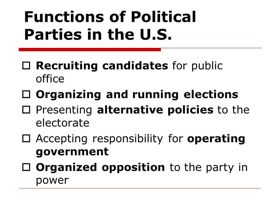 Functions of Political Parties in the U.S.