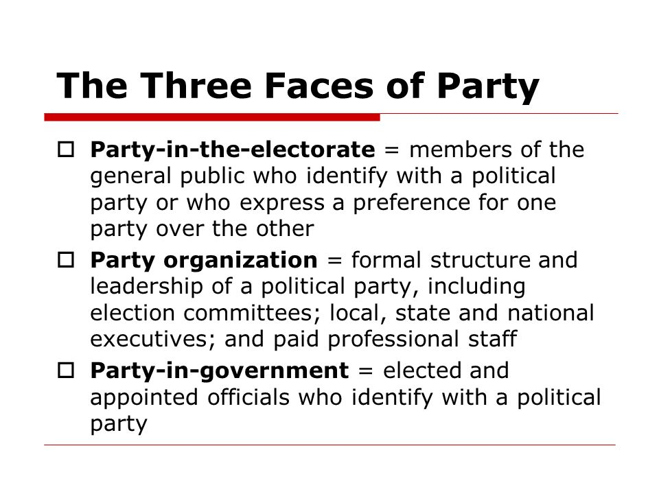 The Three Faces of Party