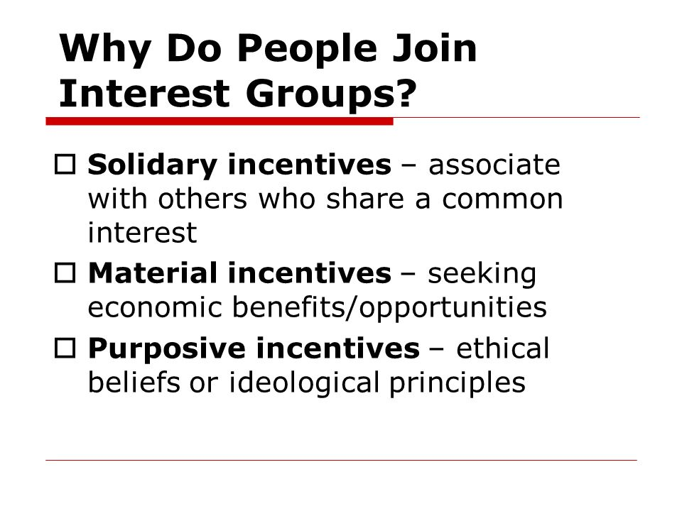 Why Do People Join Interest Groups