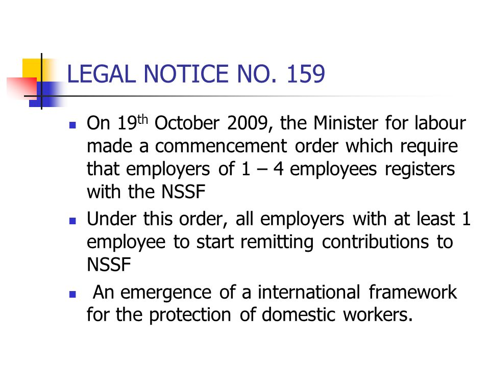 LEGAL NOTICE NO. 159