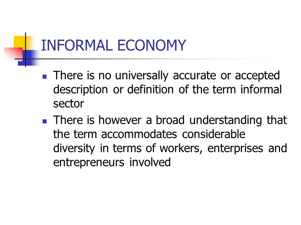 INFORMAL ECONOMY There is no universally accurate or accepted description or definition of the term informal sector.