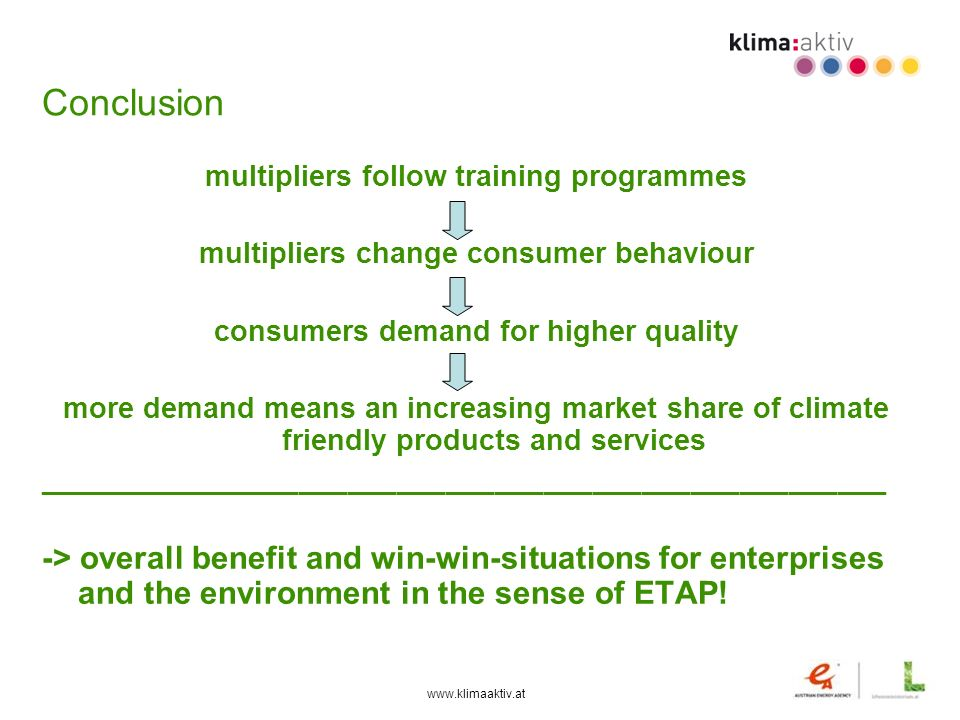 Conclusion multipliers follow training programmes. multipliers change consumer behaviour. consumers demand for higher quality.