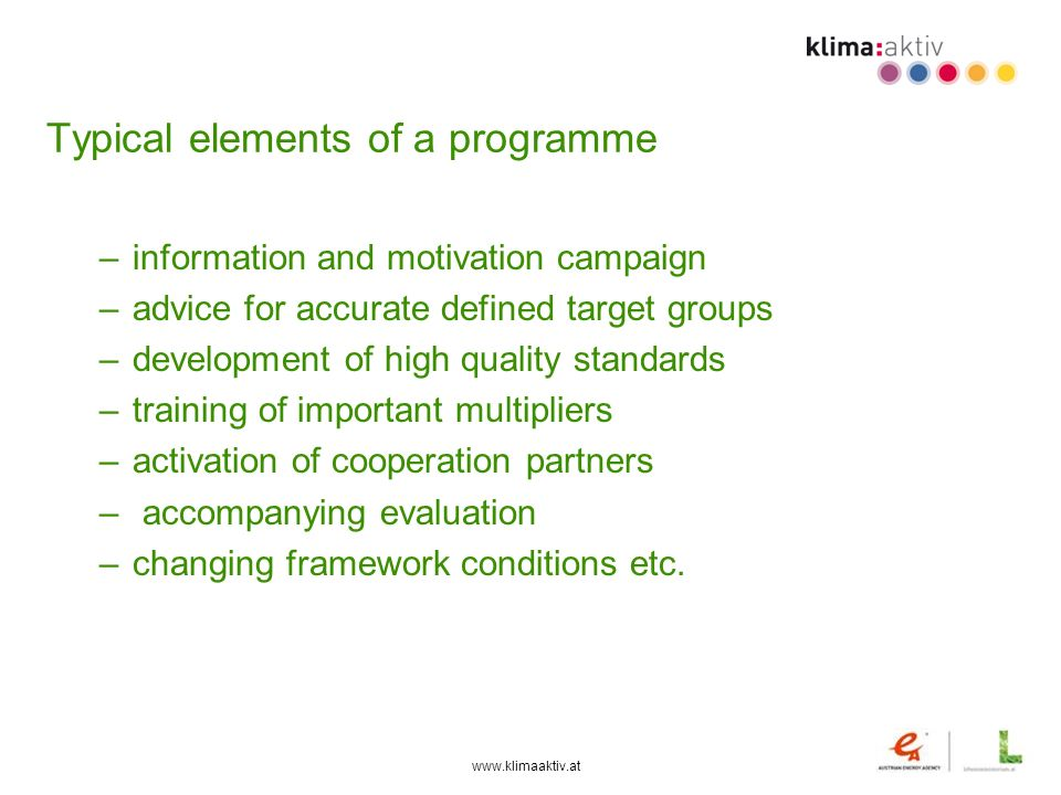 Typical elements of a programme