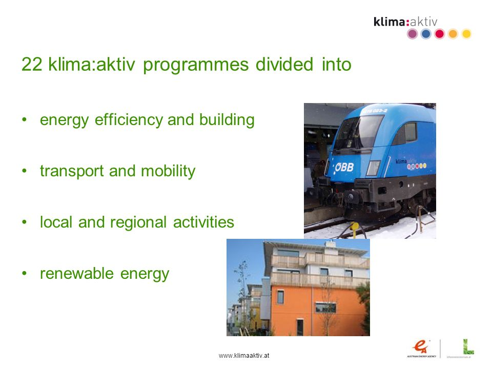22 klima:aktiv programmes divided into