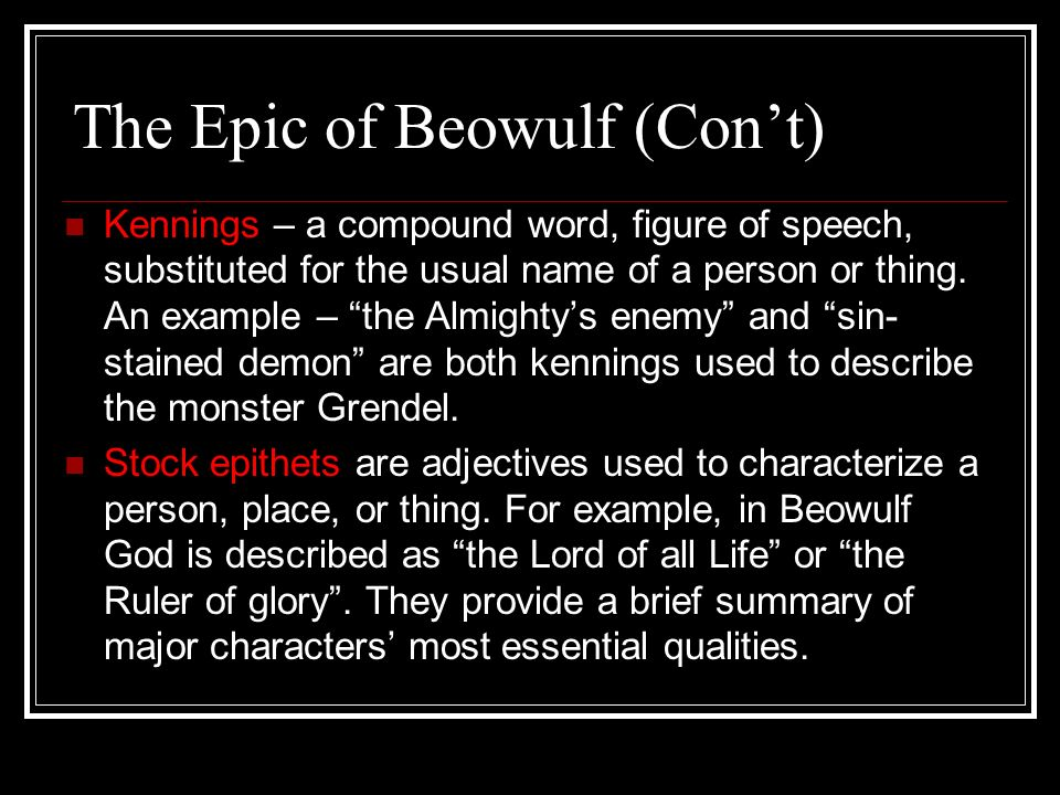 essential epics elements in the story of beowulf Beowulf is an epic poem that is both one of the most important works in english  literature, and a great adventure story while it is set in.