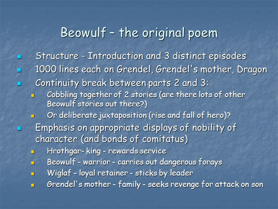 an analysis of the character of beowulf from the epic poem All these are personality of an epic hero, which beowulf was a great epic hero character analysis as beowulf gets close to danish in the poem of beowulf.