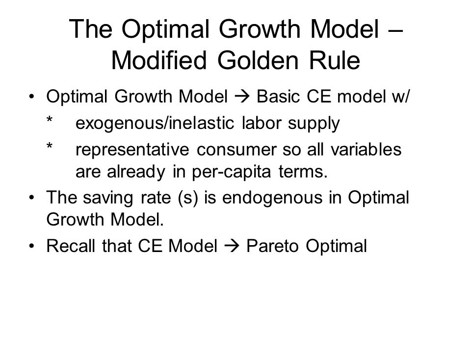 golden rule for saving in solow growth model The solow growth model  so, to find the golden rule saving rate, the following two equations, derived from (18) and (110), must be solved.