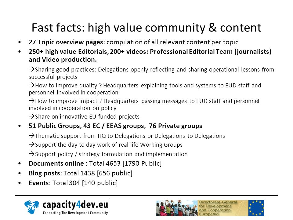 Fast facts: high value community & content