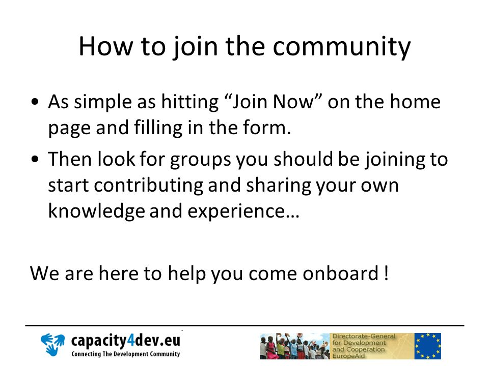 How to join the community