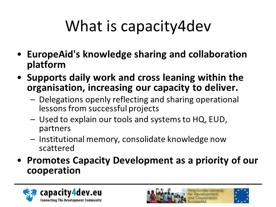 What is capacity4dev EuropeAid s knowledge sharing and collaboration platform.