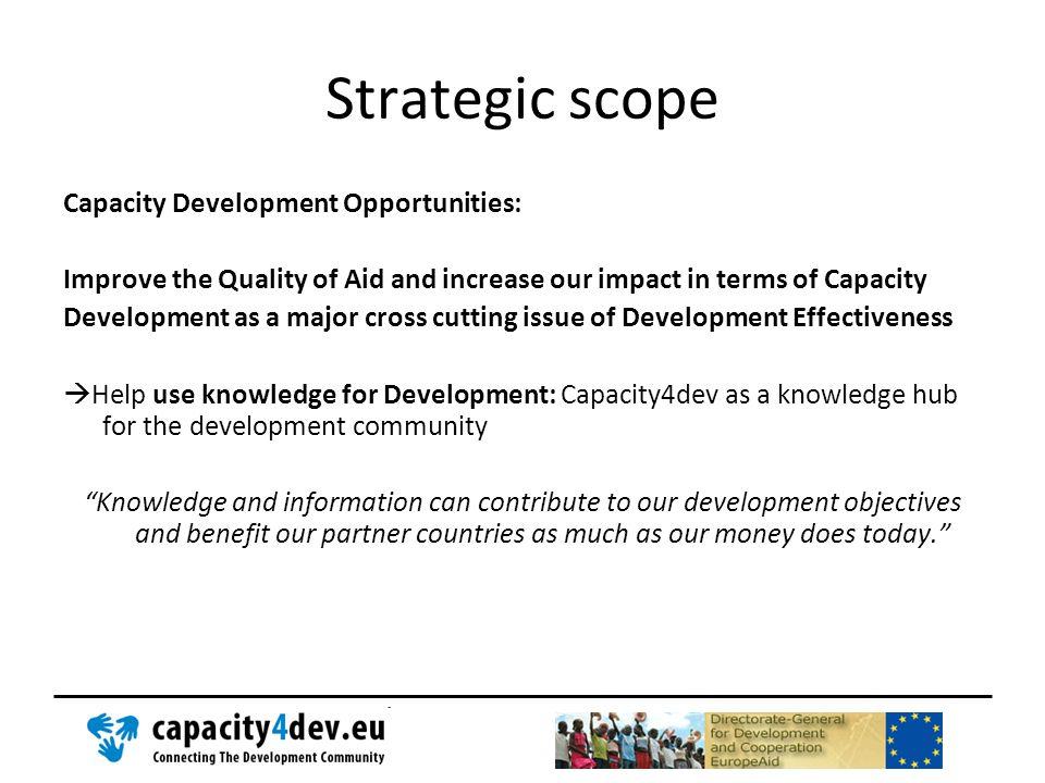 Strategic scope Capacity Development Opportunities: