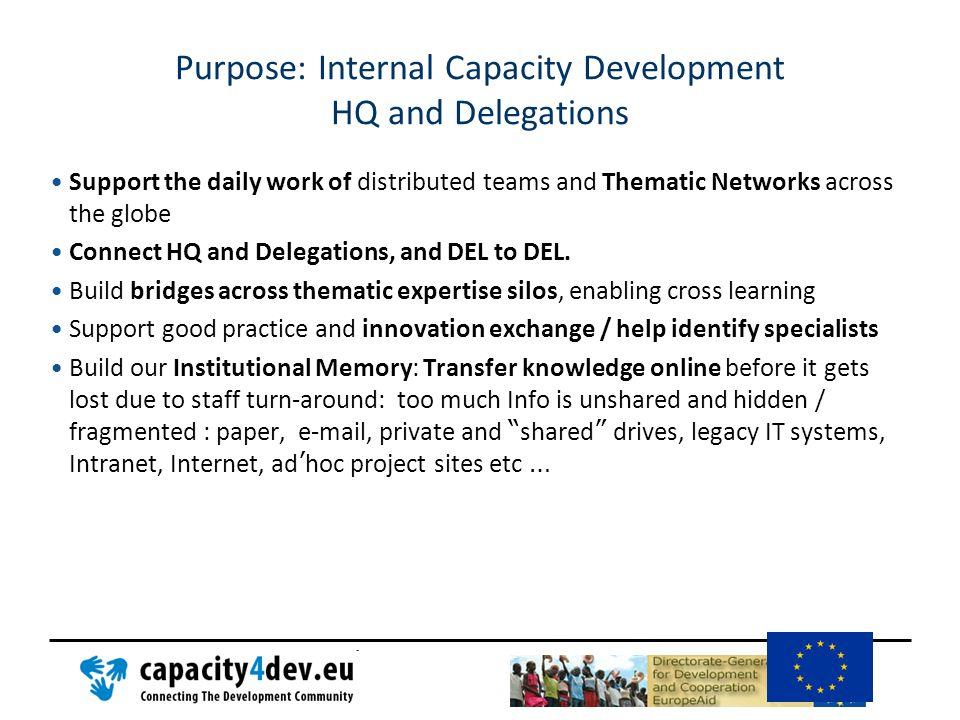Purpose: Internal Capacity Development HQ and Delegations
