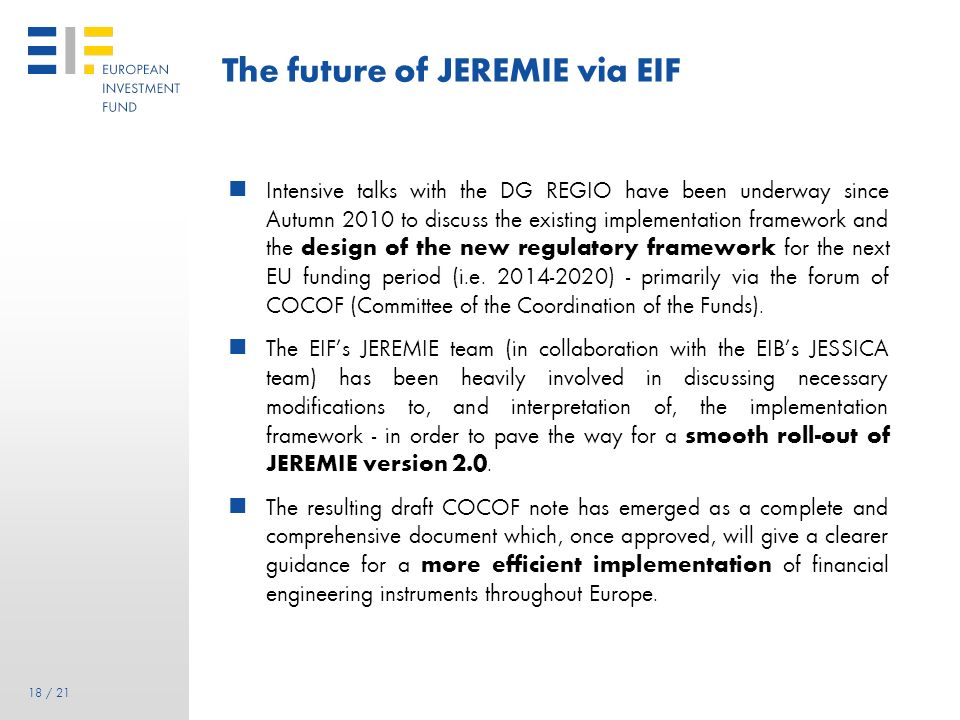 The future of JEREMIE via EIF