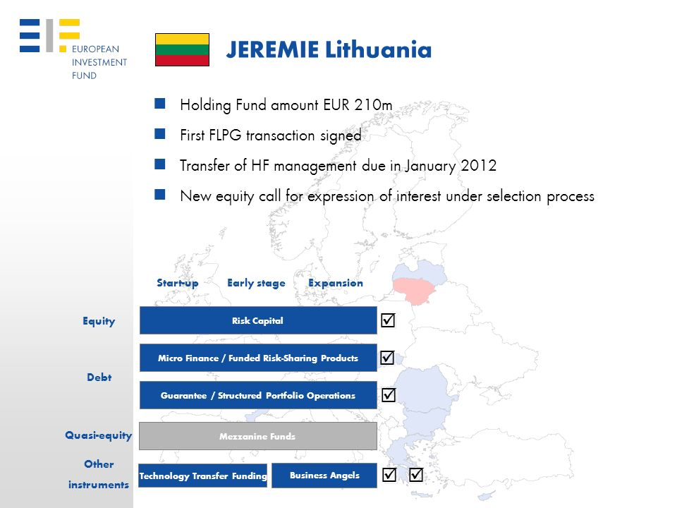 JEREMIE Lithuania      Holding Fund amount EUR 210m