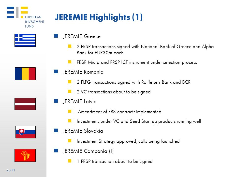 JEREMIE Highlights (1) JEREMIE Greece JEREMIE Romania JEREMIE Latvia