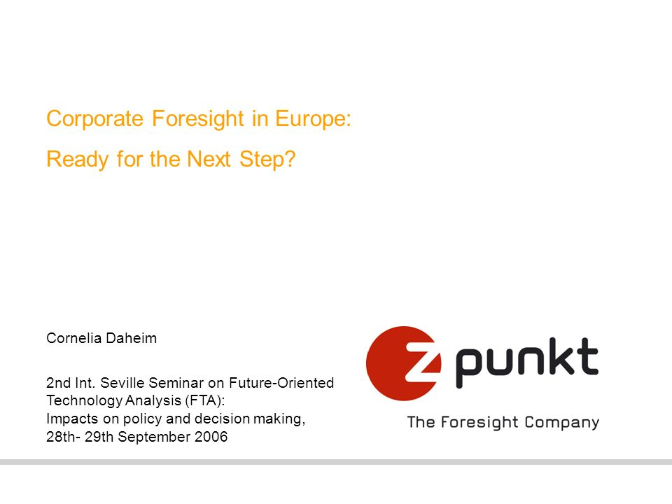 Corporate Foresight in Europe: Ready for the Next Step