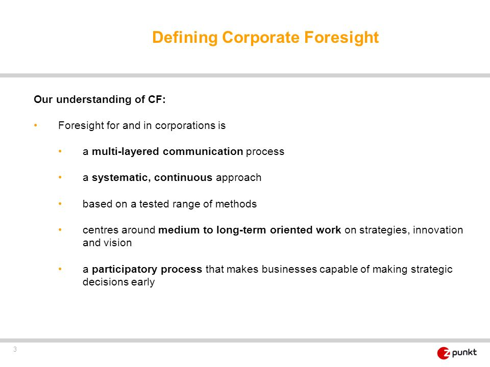 Defining Corporate Foresight