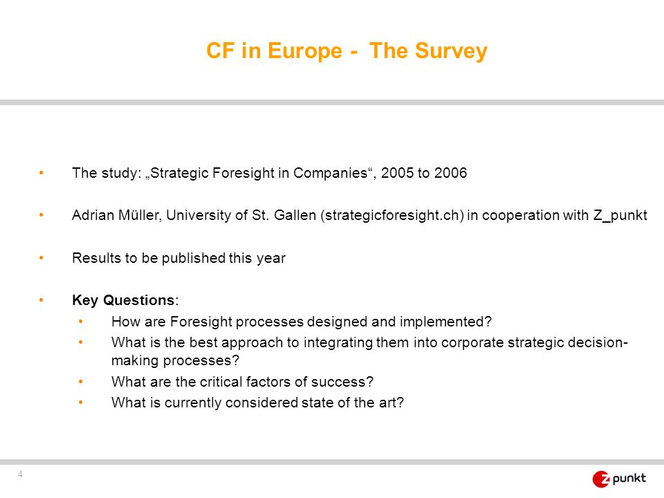 CF in Europe - The Survey
