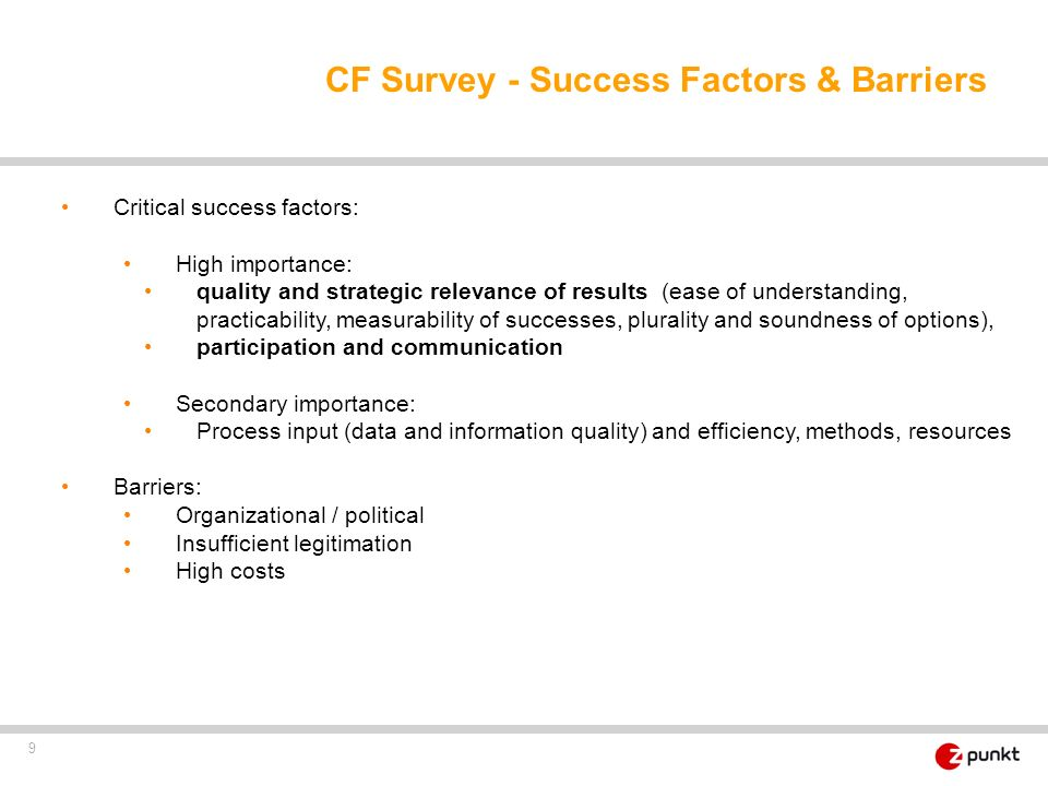 CF Survey - Success Factors & Barriers