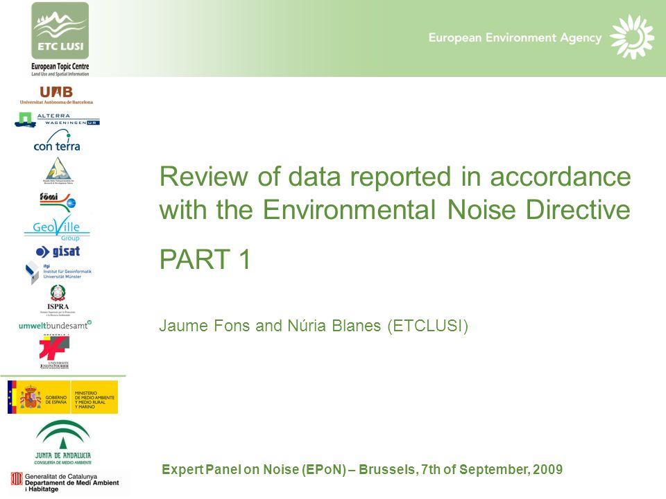 Review of data reported in accordance with the Environmental Noise Directive