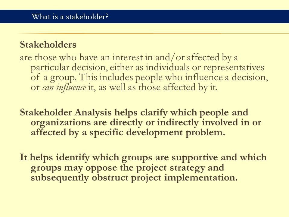 stakeholder influence in strategy decisions Stakeholder theory and managerial decision are in the area of ethical and strategic decision-making of decision-making in the context of stakeholder man.