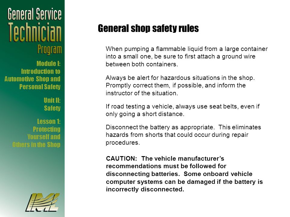 General shop safety rules