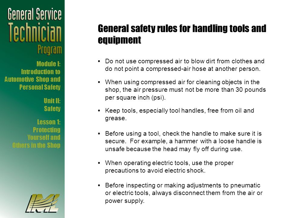General safety rules for handling tools and equipment